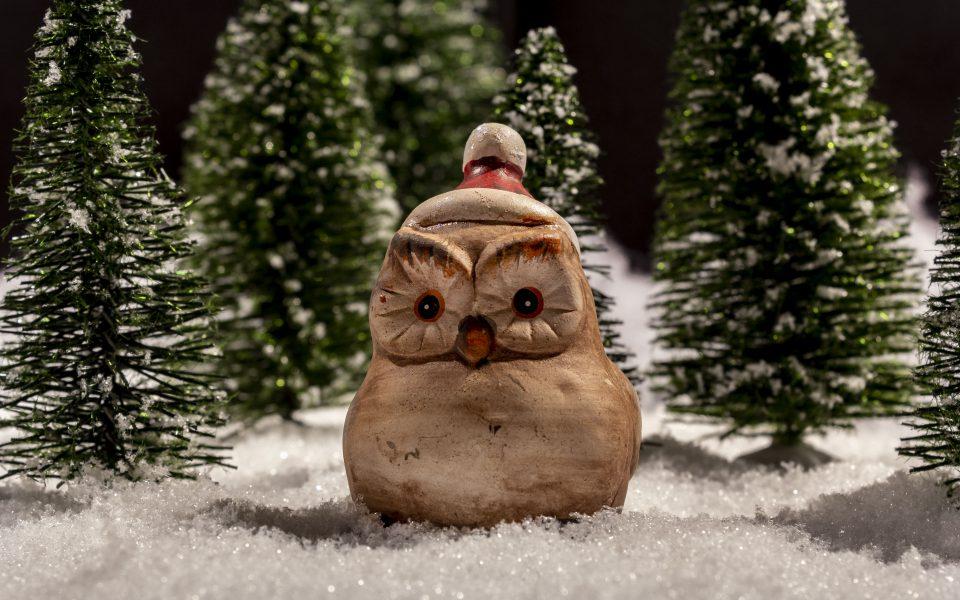 Hintergrundbild - Weihnachten Eule sitzt im Schnee