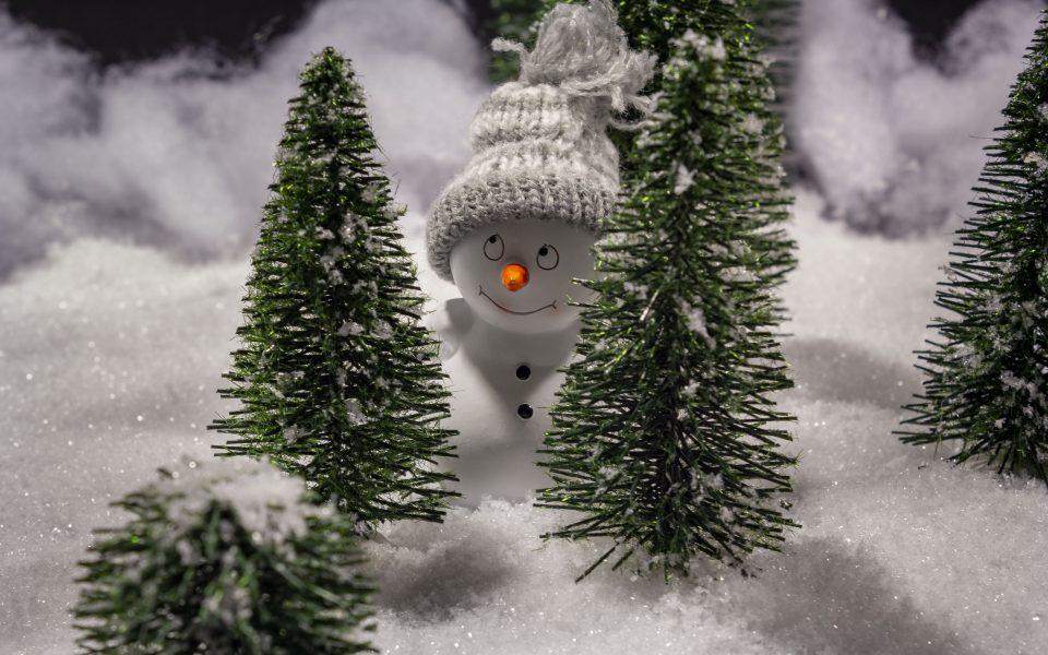 Hintergrundbild - Weihnachten Freundlicher Schneemann