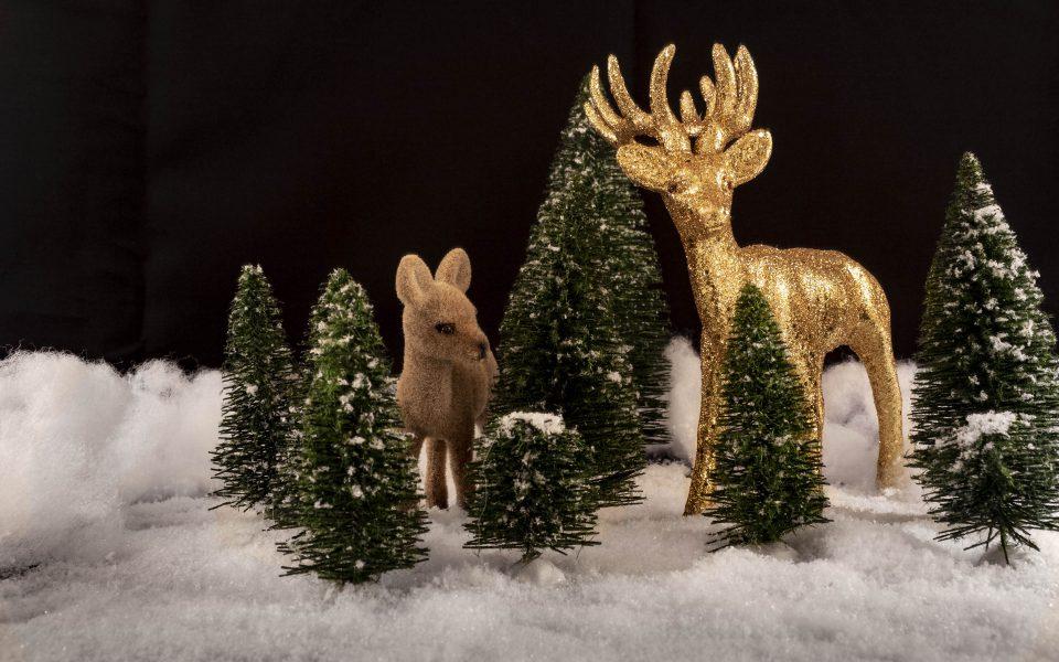 Hintergrundbild - Weihnachten Glitzerhirsch und Kitz