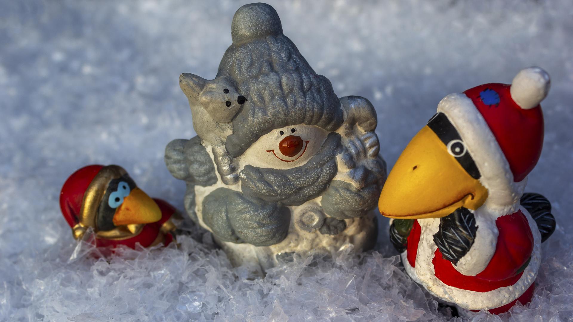Hintergrundbild Weihnachten Schneemann Mit Vogeln