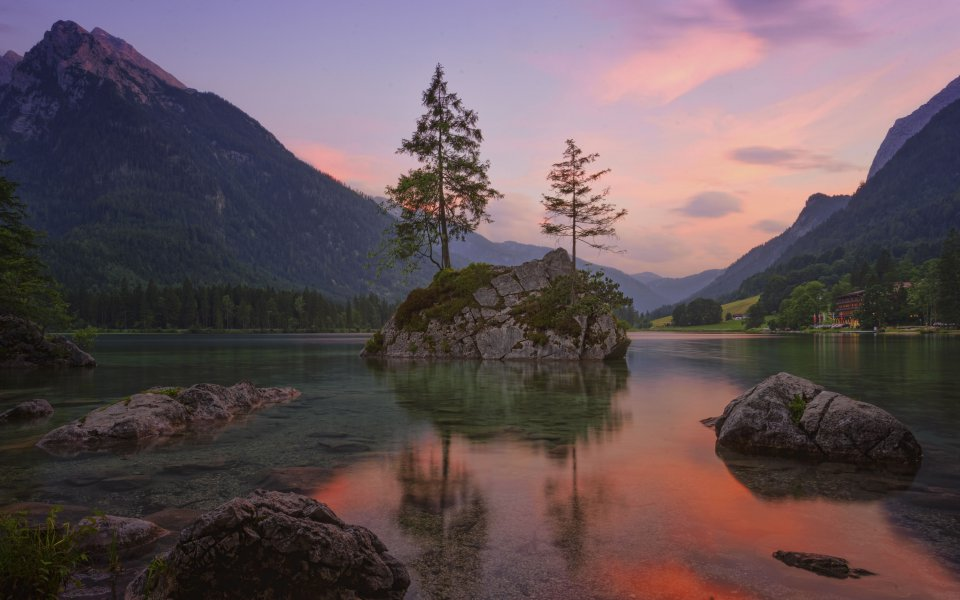 Hintergrundbilder - Evening at the lake - Hintersee