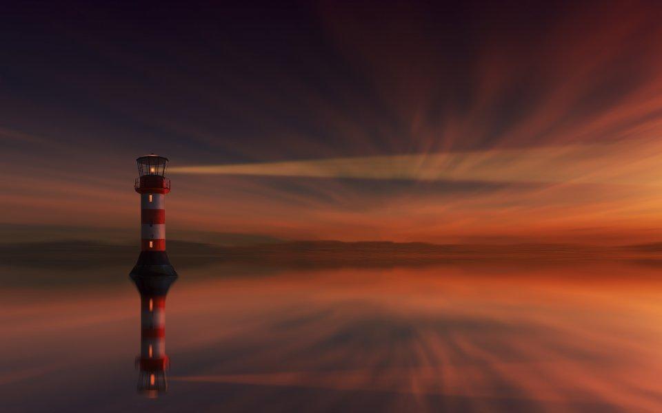Hintergrundbilder - Leuchtturm im Sonnenuntergang