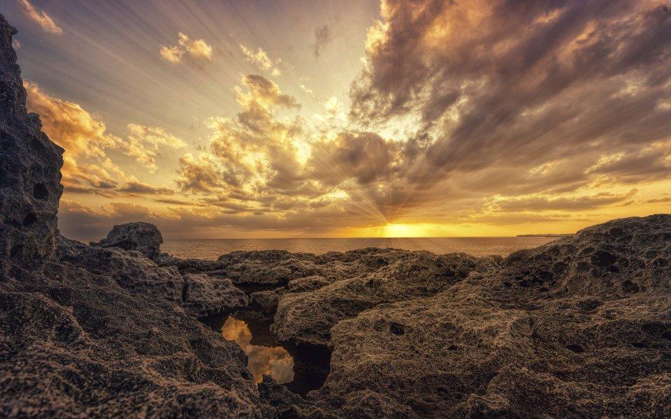 Hintergrundbilder - Sonnenuntergang am Meer